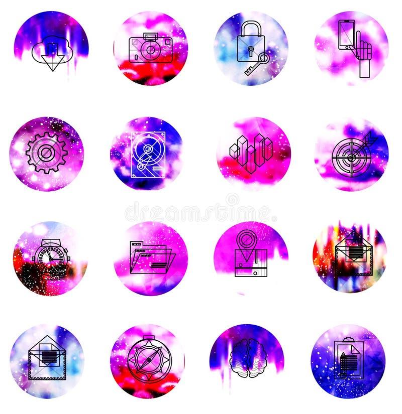 Universele moderne pictogrammen voor Web en mobiele app royalty-vrije illustratie