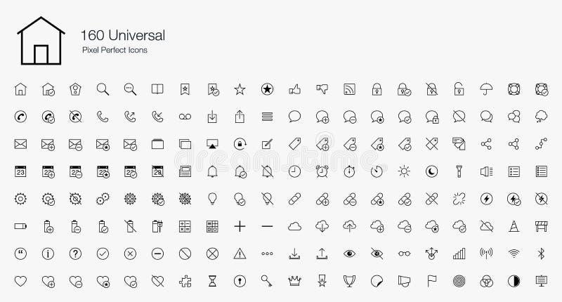 160 universele Pixel Perfecte Pictogrammen (lijnstijl) stock illustratie