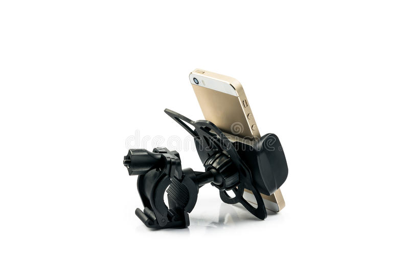 universele telefoonhouder voor automotor en fiets met geïnstalleerde gouden smartphone Geïsoleerdj op witte achtergrond royalty-vrije stock afbeelding