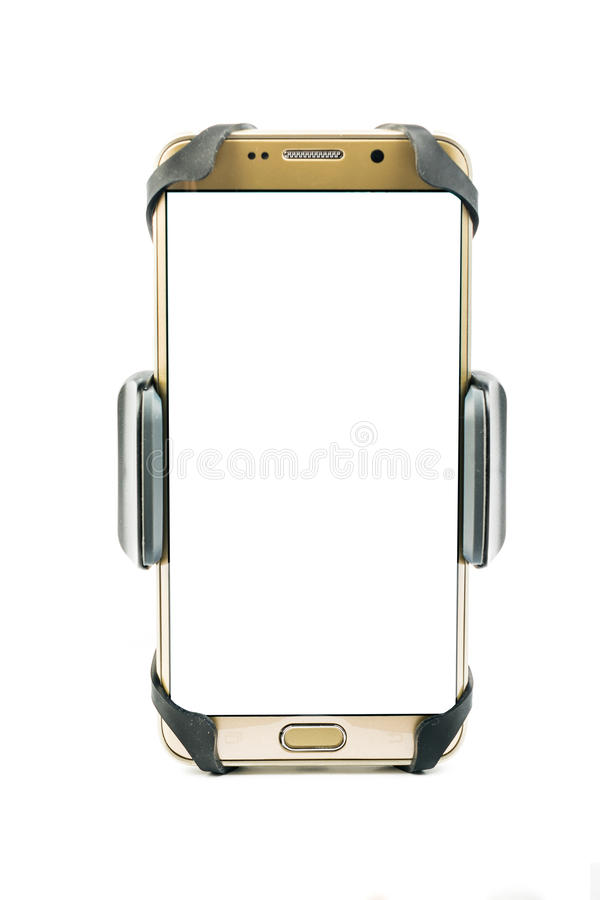 universele telefoonhouder voor automotor en fiets met geïnstalleerde lege het scherm gouden smartphone Geïsoleerdj op witte achte stock afbeeldingen