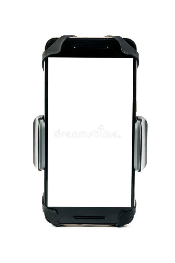 Universele telefoonhouder voor automotor en fiets met geïnstalleerde lege het schermsmartphone Geïsoleerdj op witte achtergrond stock fotografie