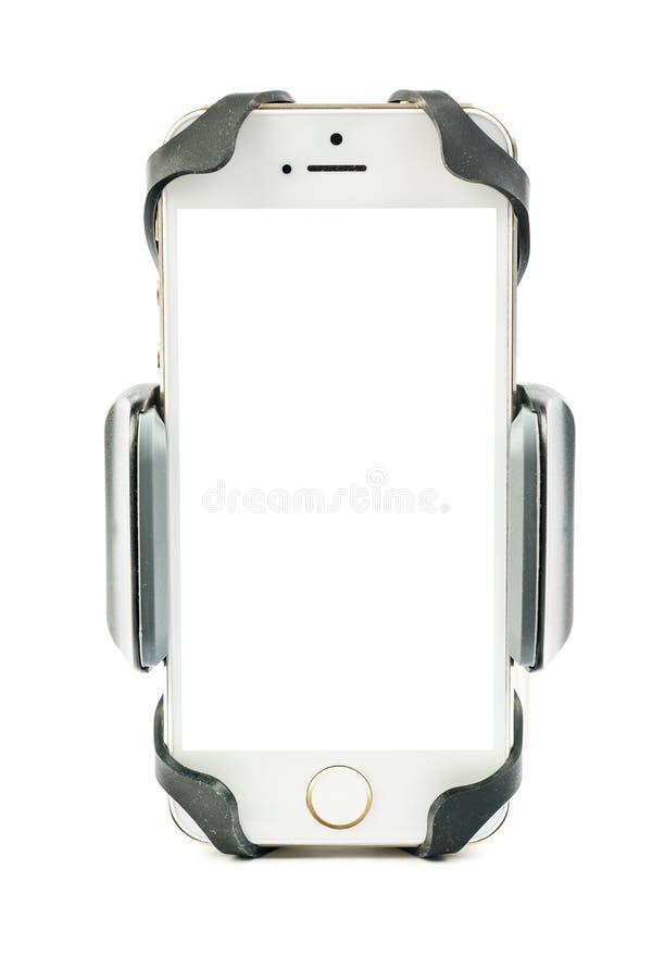 Universele telefoonhouder voor automotor en fiets met geïnstalleerde lege het schermsmartphone Geïsoleerdj op witte achtergrond royalty-vrije stock afbeelding