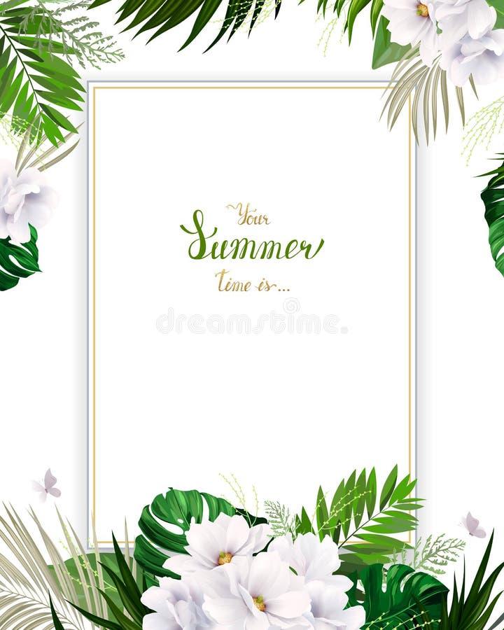 Universele uitnodiging, gelukwenskaart met groene tropische palm, monsterabladeren en magnolia bloeiende bloemen op royalty-vrije illustratie