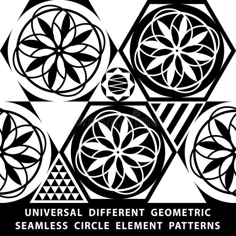 Universele verschillende vector naadloze patronen tiling De eindeloze textuur kan voor behang worden gebruikt, vult het patroon,  royalty-vrije illustratie