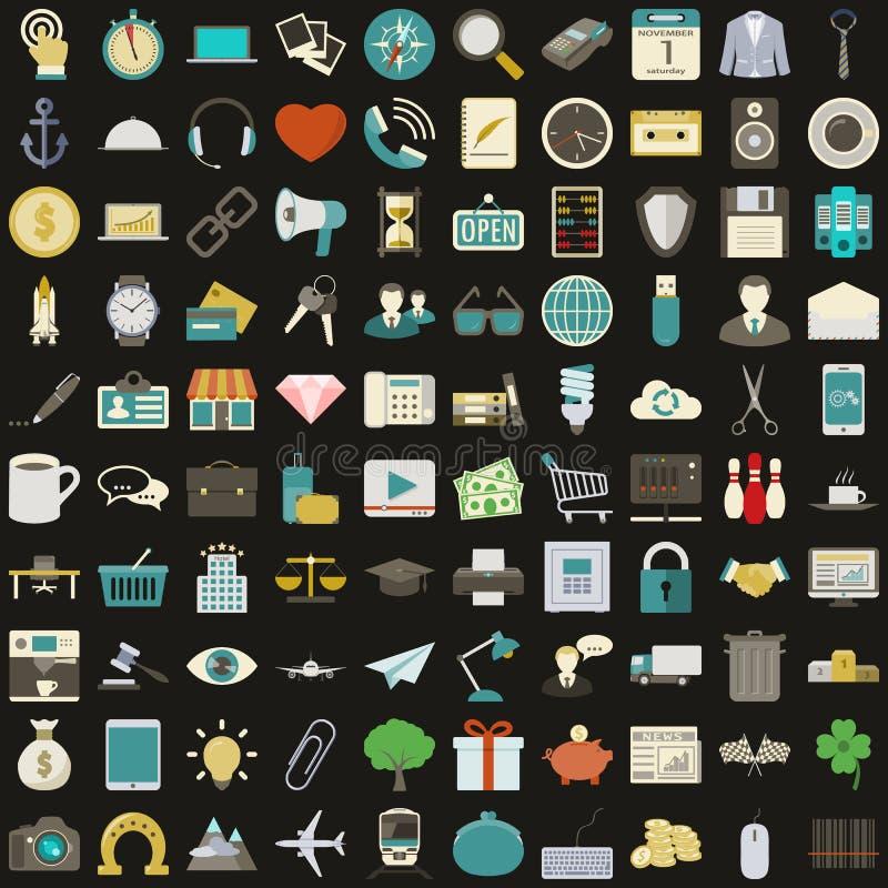 Universele 100 vlakke geplaatste pictogrammen royalty-vrije illustratie