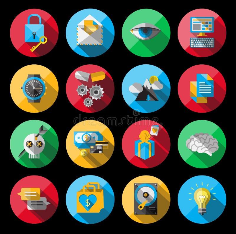 Universele Vlaktepictogrammen voor Web stock illustratie