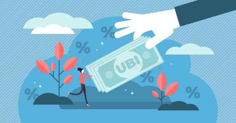 Universell grundläggande inkomstvektorillustration Plant mycket litet pengarpersonbegrepp stock illustrationer