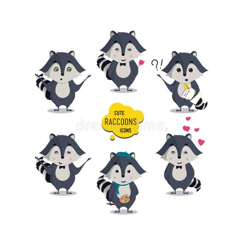 Universell gullig tvättbjörnuppsättning med familjtvättbjörnen stock illustrationer