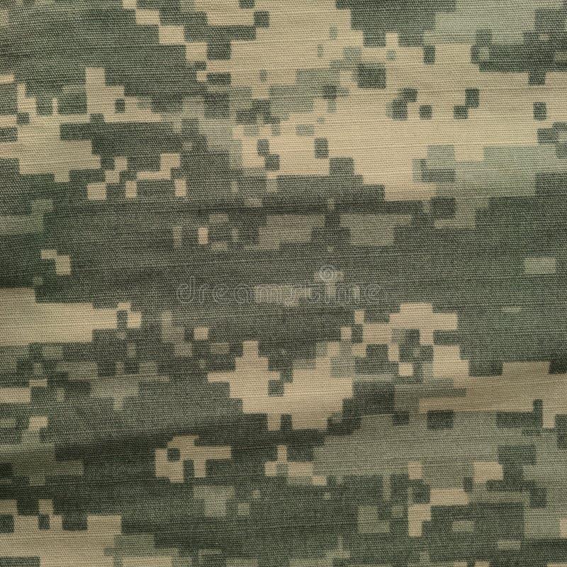 Universell kamouflagemodell, enhetlig digital camo för arméstrid, closeup för USA militär ACU-makro, detaljerat stort reva-stopp  arkivbild