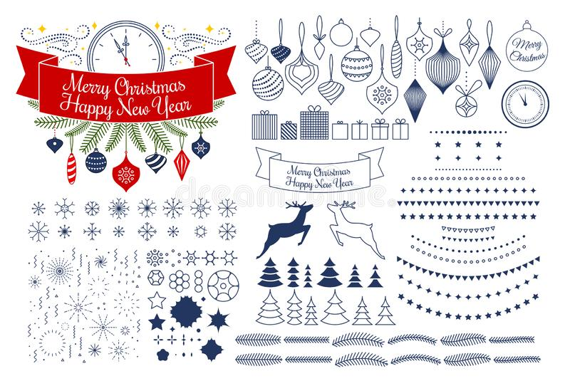 Universell mega samling för vektor av sh julvektormodeller stock illustrationer