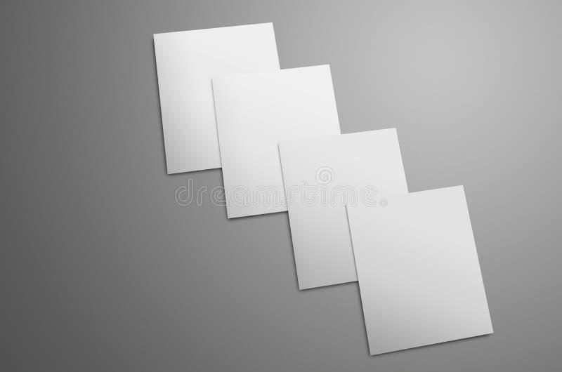 Universell modell med vit fyra A4, bi-veck A5 broschyrer arkivfoton
