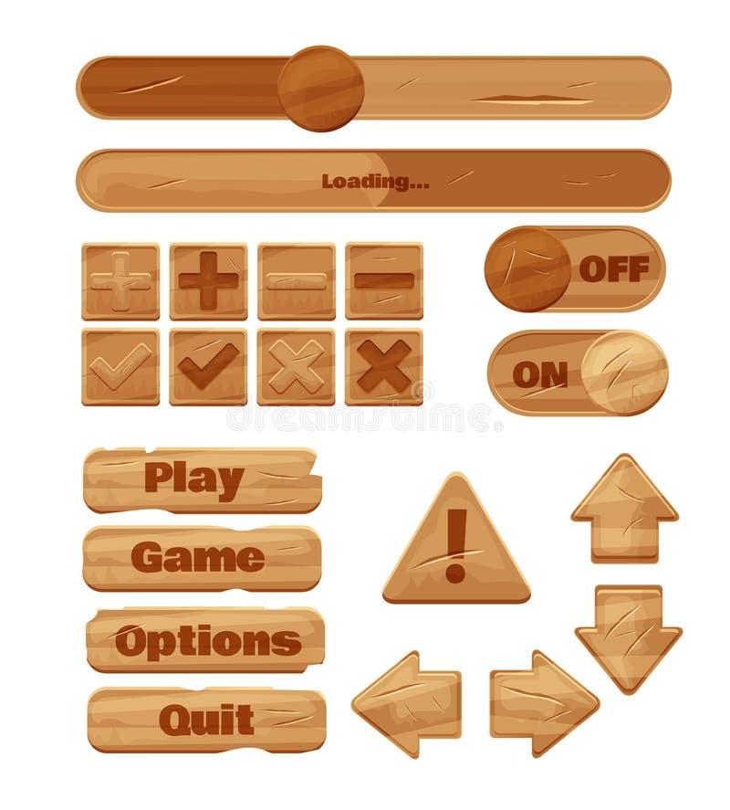 Universell sats för trä UI för att planlägga svars- dobbelapplikationer och mobila online spel, websites, mobila apps och använda royaltyfri illustrationer