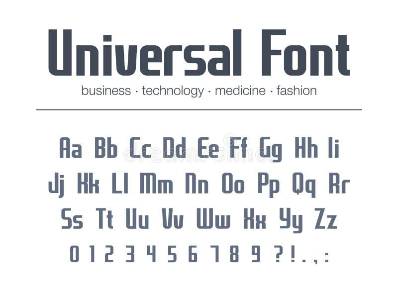 Universell stilsort för text för affärsrubrik Förtätat smalt alfabet för logodesign Teknologitypografistil royaltyfri illustrationer
