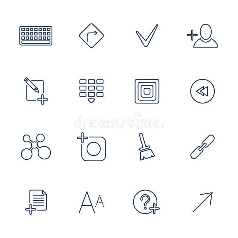 Universell tunn linje svartsymboler stock illustrationer