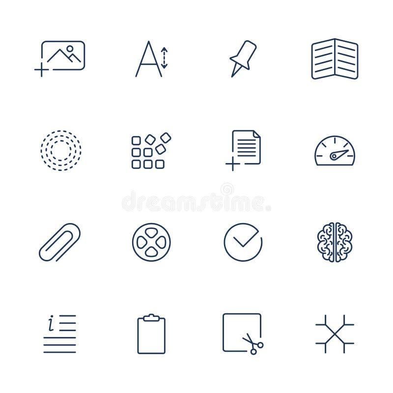 Universell tunn linje svartsymboler royaltyfri illustrationer