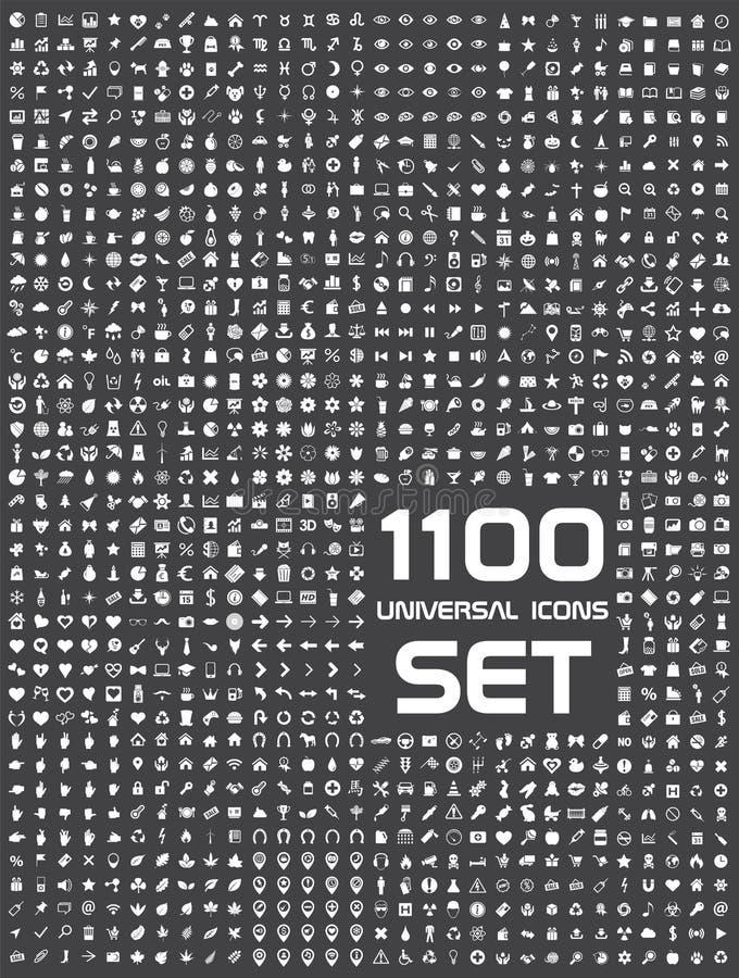 Universell uppsättning av 1100 symboler royaltyfri illustrationer