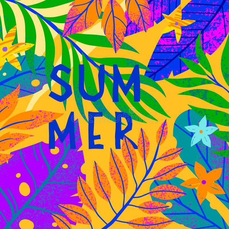 Universell vektorillustration med tropiska sidor, blommor och beståndsdelar arkivfoto