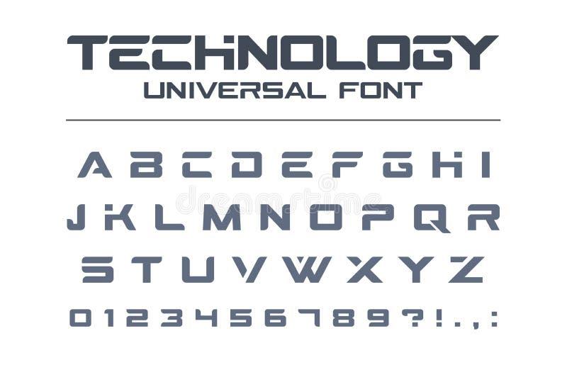 Universell vektorstilsort för teknologi Geometriskt sport, futuristiskt framtida technoalfabet vektor illustrationer