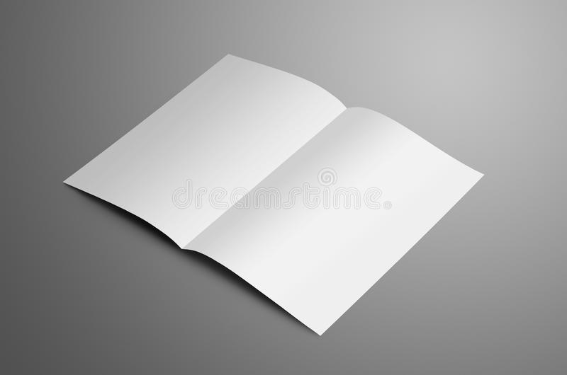 Universell vit en A4, bi-veck A5 broschyr med mjuka skuggor arkivfoton