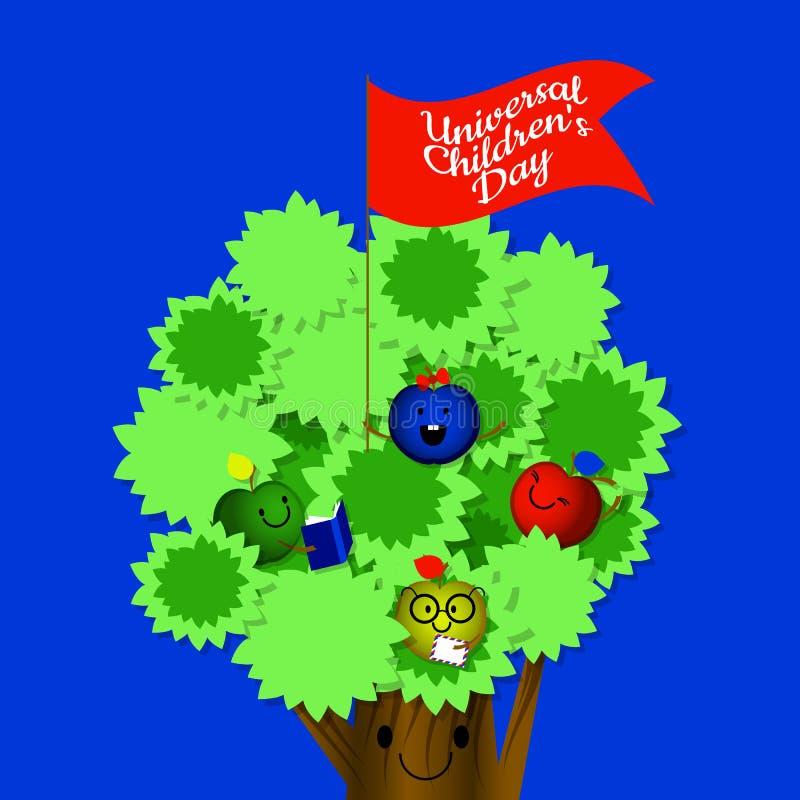 Universella barns dag Begrepp av en social ferie Lurar äpplen, mamma är ett äppleträd Tecknad filmstil royaltyfri illustrationer