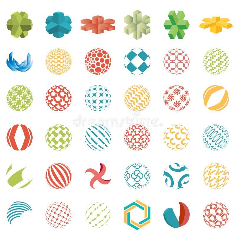 Universella sfäriska logoer, abstrakta symboler för affär royaltyfri illustrationer