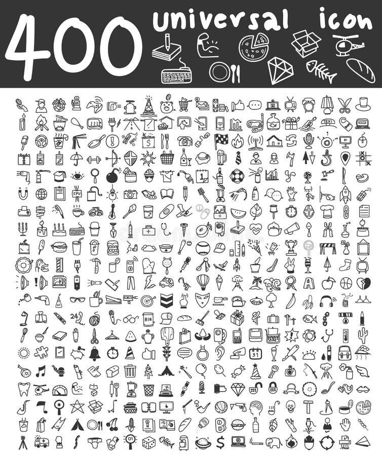 400 universella symboler räcker den utdragna linjen konst den gulliga konstillustrationen royaltyfri illustrationer