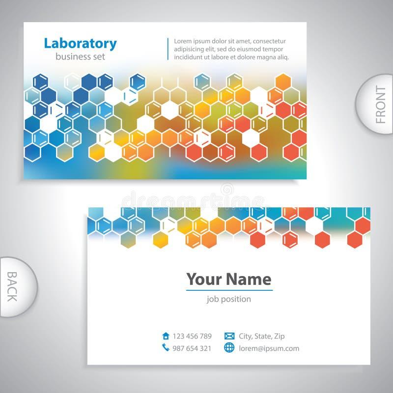 Universellt kort för apelsin-blått laboratoriumaffär. royaltyfri illustrationer