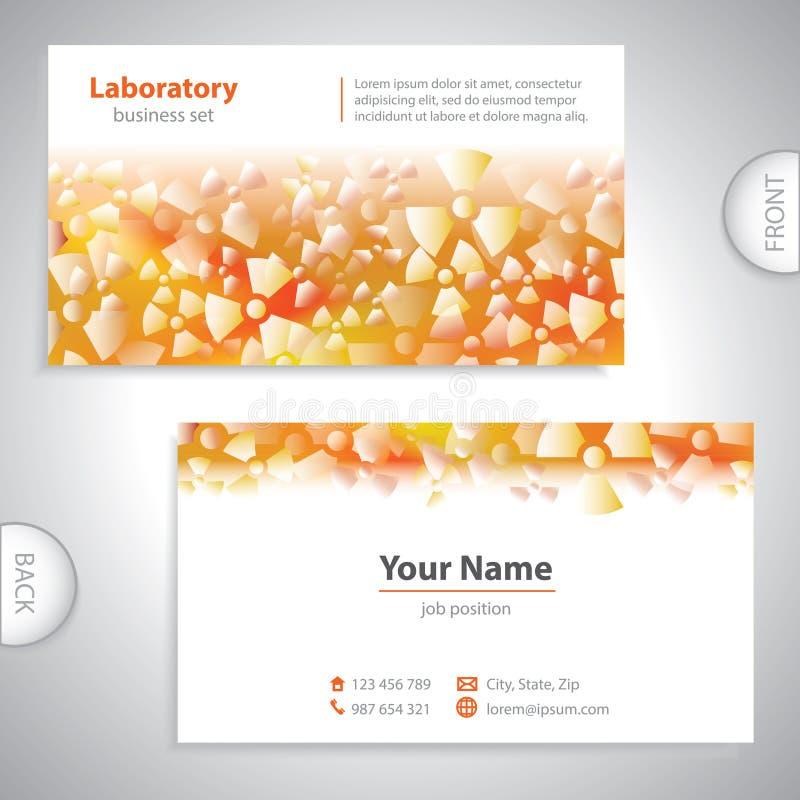 Universellt kort för apelsin-vit laboratoriumaffär. royaltyfri illustrationer
