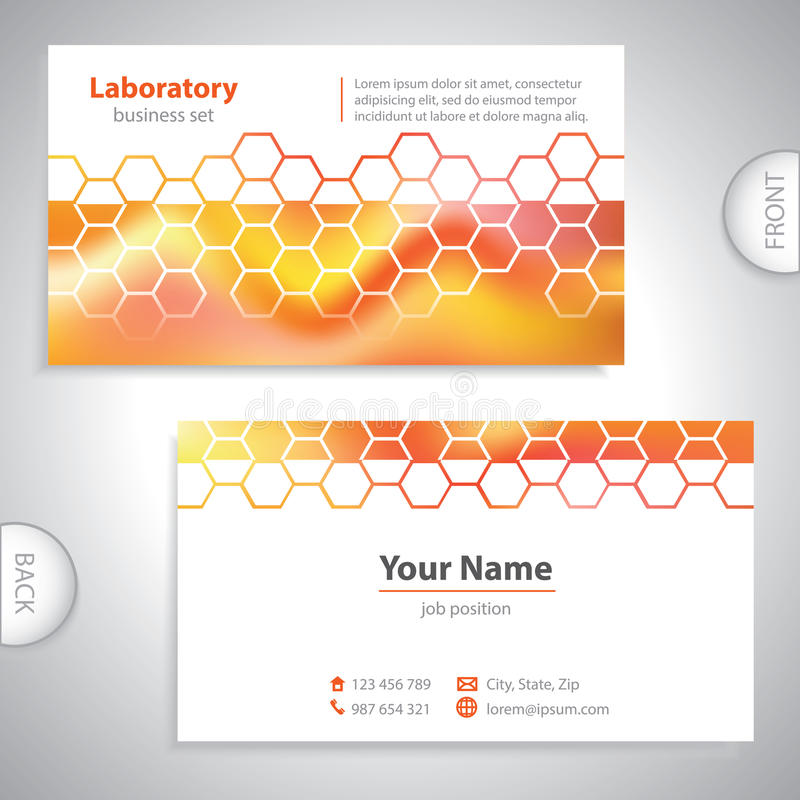 Universellt morotsfärgat laboratoriumaffärskort vektor illustrationer