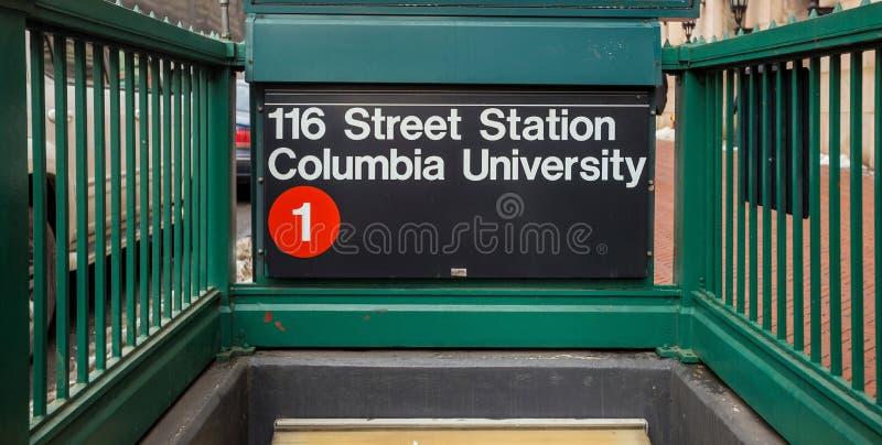 Universidad de Columbia del suspiro del subterráneo imágenes de archivo libres de regalías