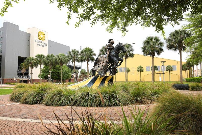 Universidad del caballero de carga Statue de la Florida central foto de archivo libre de regalías