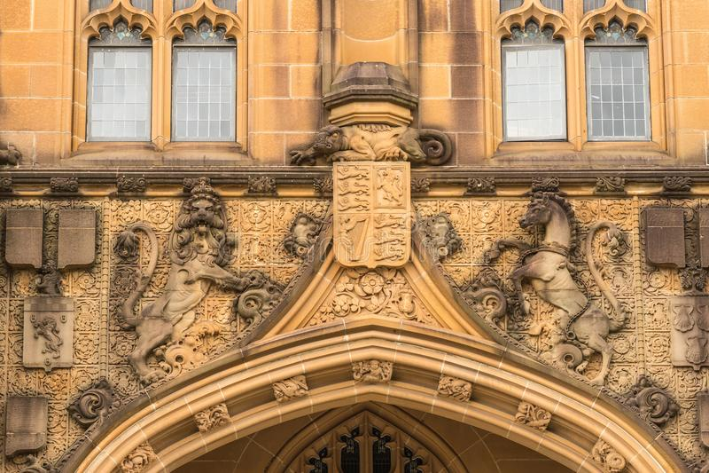 Universidad del detalle de la fachada de Sydney Nicholson Museum, Australia fotografía de archivo libre de regalías