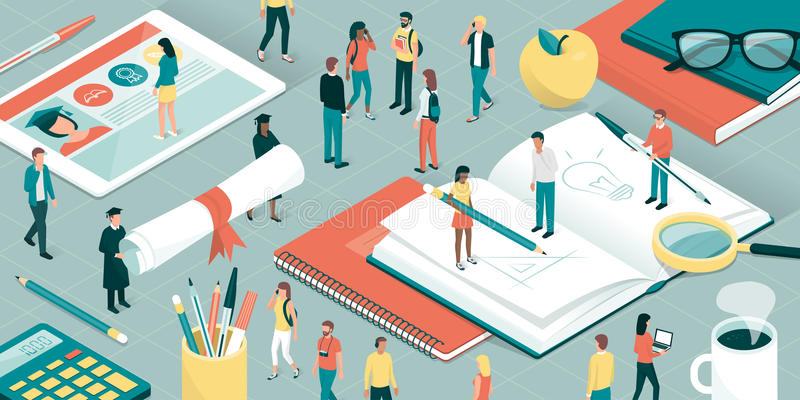 Universidad e investigación stock de ilustración