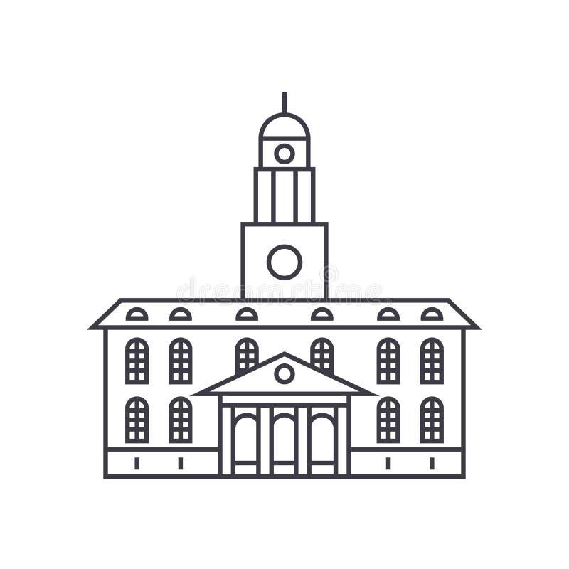 Universidad que construye la línea fina concepto del icono Universidad que construye la muestra linear del vector, símbolo, ejemp ilustración del vector