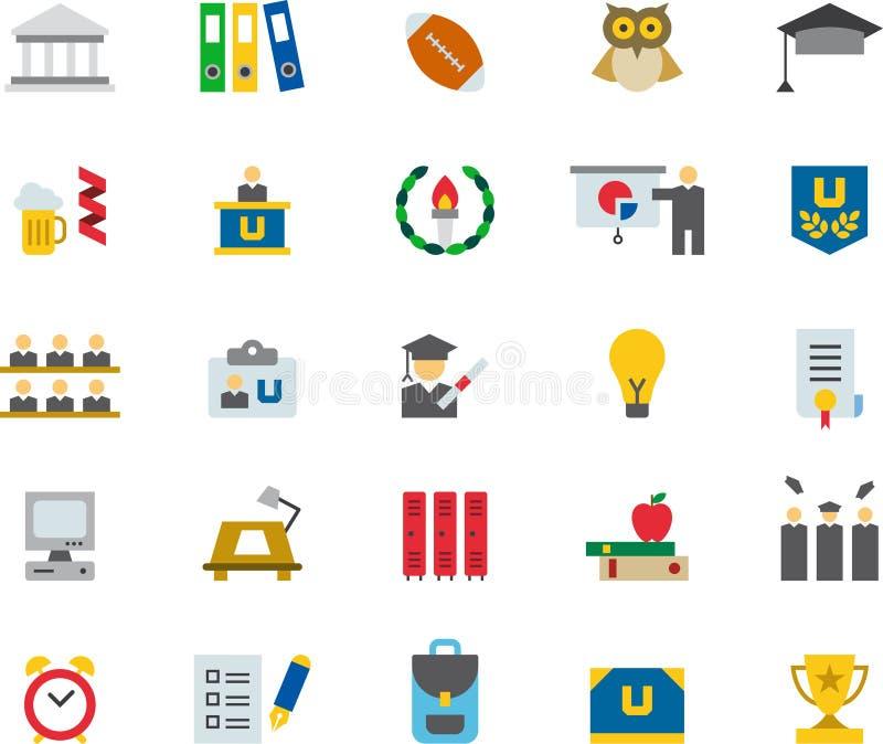 UNIVERSIDAD y iconos planos coloreados EDUCACIÓN ilustración del vector