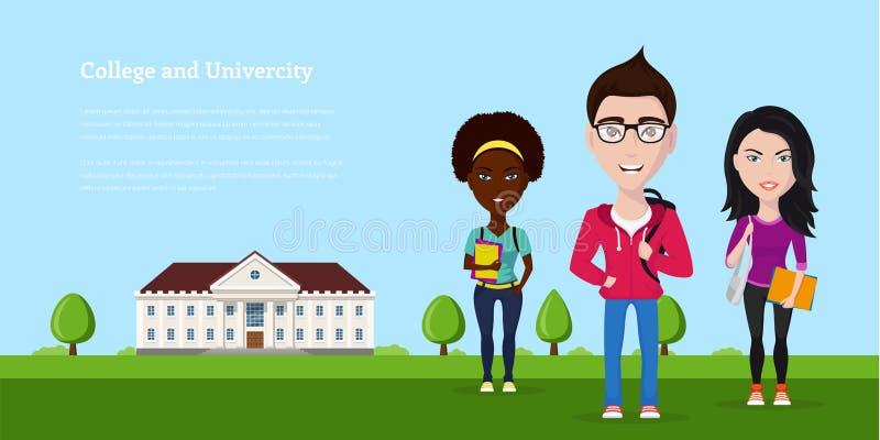Universidad y univercity stock de ilustración
