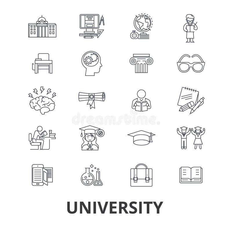 Universidade, ciência, estudantes, educação, graduação, terreno, estudo, linha ícones do conhecimento Cursos editáveis Projeto li ilustração do vetor