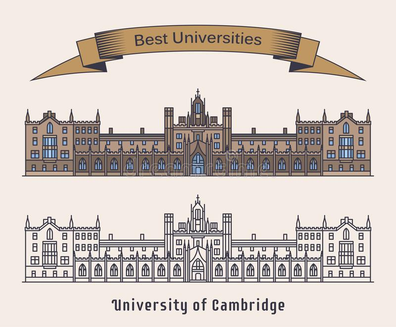 Universidade da construção de Cambridge Arquitetura ilustração royalty free