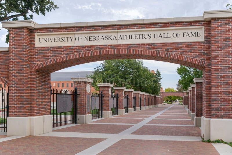 Universidade da passagem do corredor da fama do atletismo de Nebraska imagem de stock
