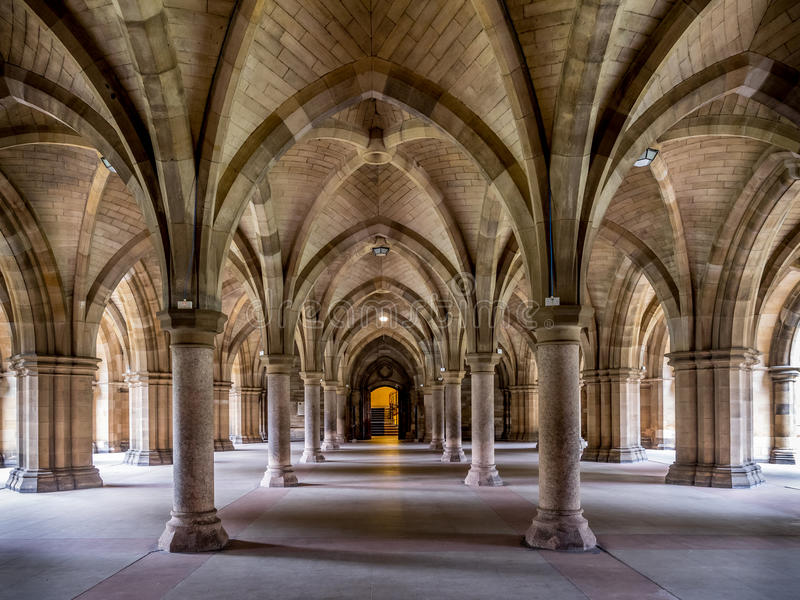 Universidade de Glasgow Cloisters fotografia de stock royalty free