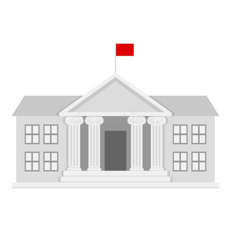 Universidade que constrói o ícone liso no branco ilustração royalty free