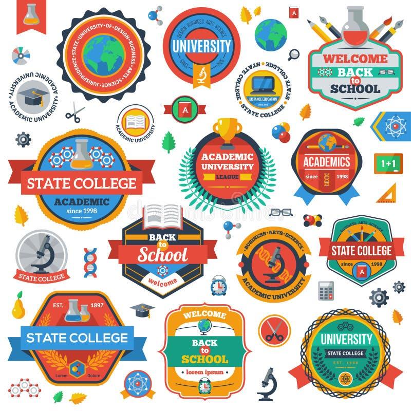 Università, accademia ed emblemi o logos dell'istituto universitario illustrazione di stock