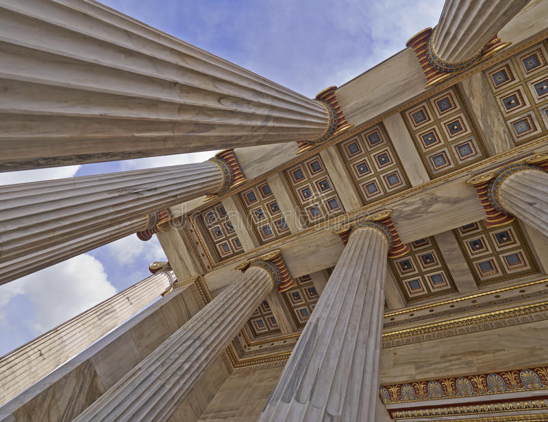 Università nazionale di Atene Grecia, soffitto dell'entrata fotografie stock libere da diritti