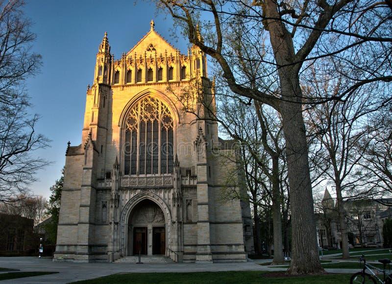 Universität von Princetons-Kapelle bei Sonnenuntergang stockbild