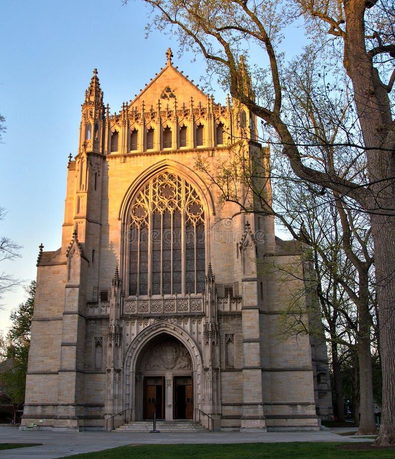 Universität von Princetons-Kapelle bei Sonnenuntergang stockfotos