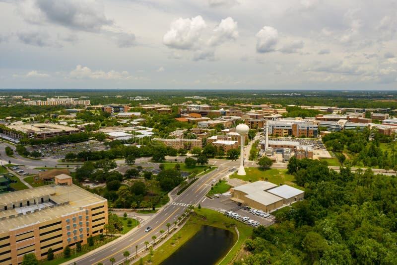 Université aérienne de photo du campus central 2019 de la Floride images stock
