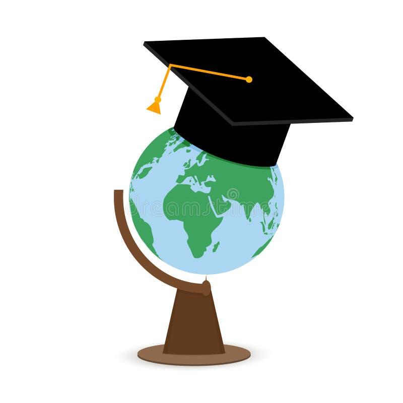 Université d'université d'enseignement supérieur Globe dans le chapeau illustration stock
