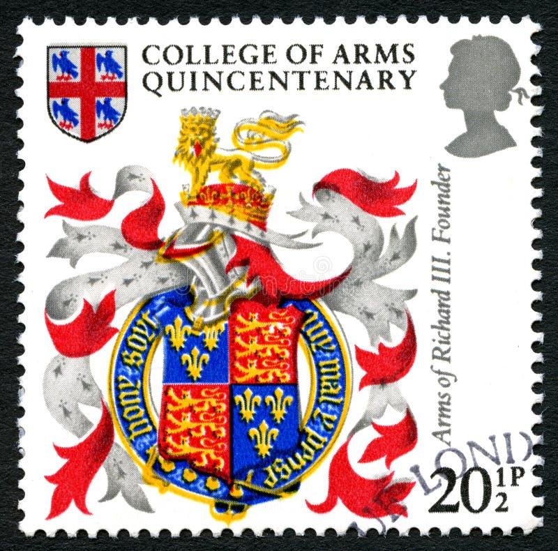Université de timbre-poste de cinq-centième anniversaire de bras photo libre de droits