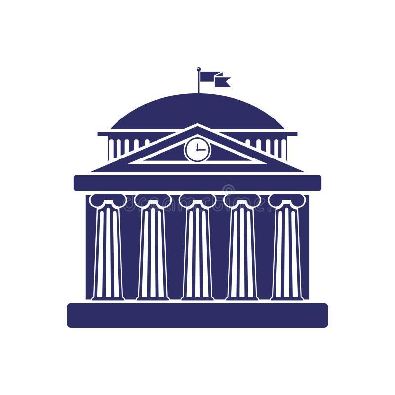 Universitair de bouw teken, bank, museum, bibliotheek, het parlement De klassieke Roman architectuur van Griekenland royalty-vrije illustratie