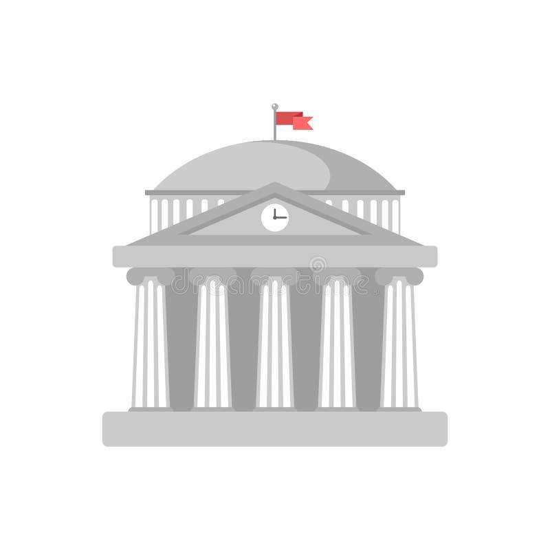 Universitair de bouw teken, bank, museum, bibliotheek, het parlement De klassieke Roman architectuur van Griekenland in wit met I vector illustratie